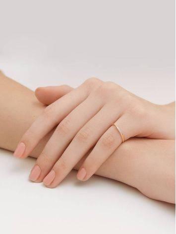 Тонкое золотое кольцо с фианитами, Размер кольца: 15.5, фото , изображение 4