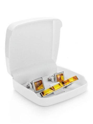 Набор: квадратные запонки и зажим для галстука с медовым янтарем, фото , изображение 4