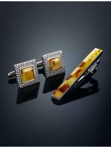Набор: запонки и зажим для галстука с балтийским янтарем, фото , изображение 2