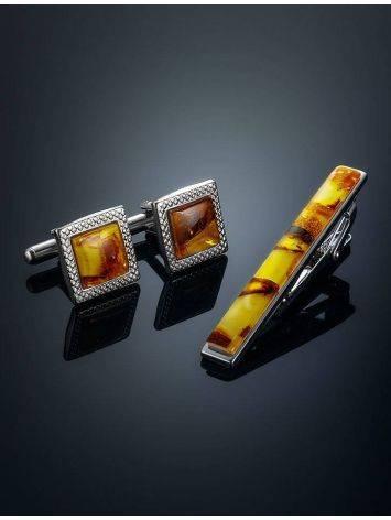 Набор: квадратные запонки и зажим для галстука с медовым янтарем, фото , изображение 2