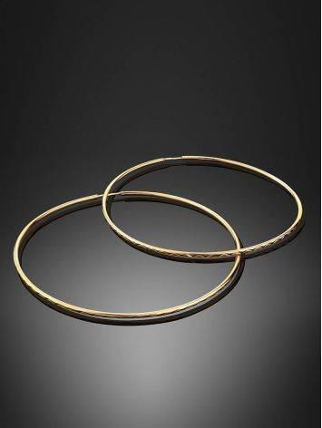 Золотые серьги-кольца с необычной текстурой, фото , изображение 2