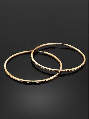 Стильные серьги-кольца из золота, фото , изображение 2