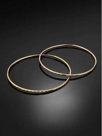 Нарядные золотые серьги-кольца, фото , изображение 2