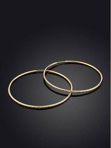 Стильные текстурные золотые серьги-кольца, фото , изображение 2