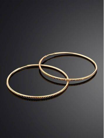 Стильные золотые серьги-кольца с необычной фактурой, фото , изображение 2