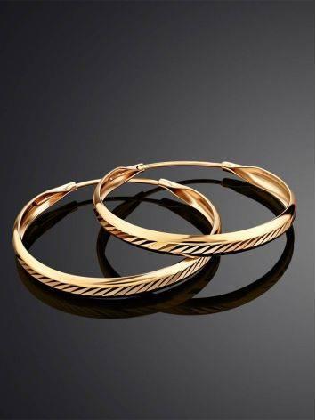 Эффектные объемные золотые серьги-кольца, фото , изображение 2