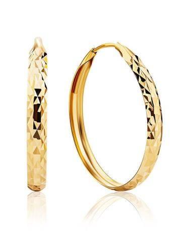 Объемные серьги-кольца из золота, фото