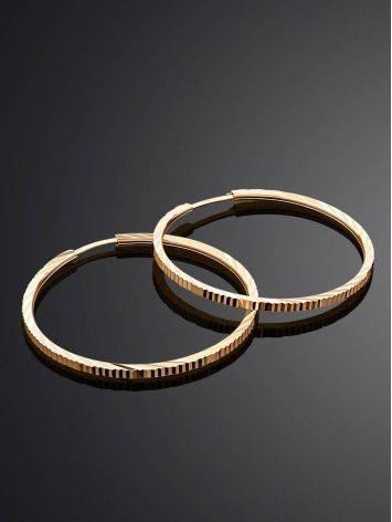 Трендовые золотые серьги-кольца с необычной текстурой, фото , изображение 2