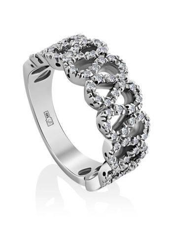 Изысканное кольцо из белого золота с бриллиантами, Размер кольца: 17.5, фото