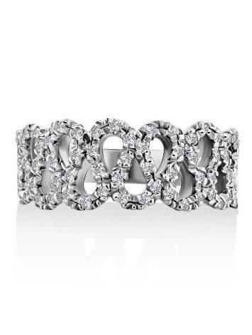 Изысканное кольцо из белого золота с бриллиантами, Размер кольца: 17.5, фото , изображение 3