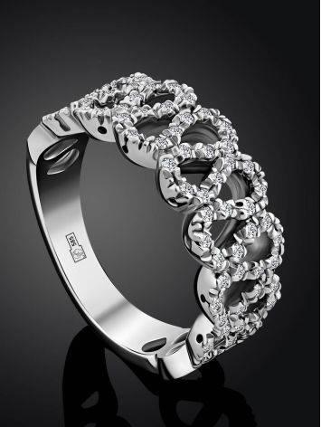 Изысканное кольцо из белого золота с бриллиантами, Размер кольца: 17.5, фото , изображение 2