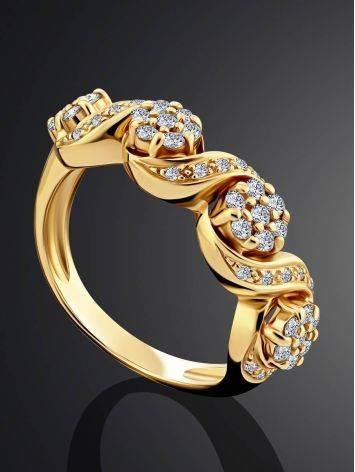 Эффектное золотое кольцо с 49 бриллиантами, Размер кольца: 17, фото , изображение 2