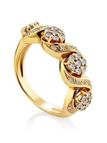 Эффектное золотое кольцо с 49 бриллиантами, Размер кольца: 17, фото