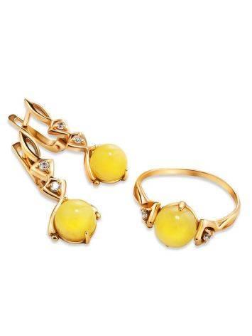 Легкое кольцо из золота 585 пробы с небольшой круглой вставкой из медового янтаря и цирконами «Самбия» 16.5, Размер кольца: 16.5, фото , изображение 5