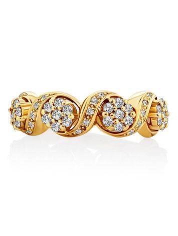 Эффектное золотое кольцо с 49 бриллиантами, Размер кольца: 17, фото , изображение 3