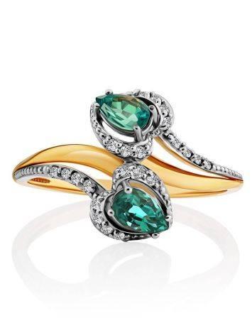 Шикарное золотое кольцо с 18 бриллиантами и 2 изумрудами, фото , изображение 3