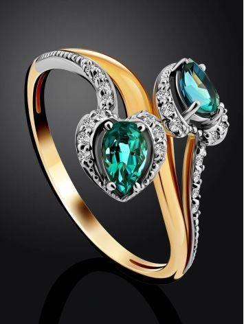 Шикарное золотое кольцо с 18 бриллиантами и 2 изумрудами, фото , изображение 2