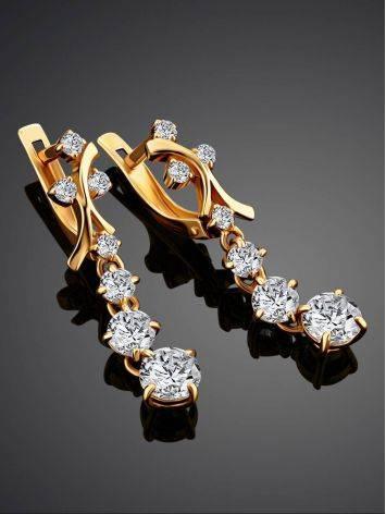 Удлиненные золотые серьги с фианитами, фото , изображение 2