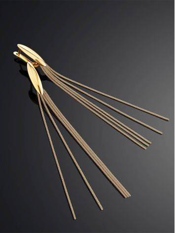 Эффектные удлиненные золотые серьги-цепочки, фото , изображение 2