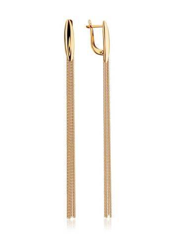 Эффектные удлиненные золотые серьги-цепочки, фото