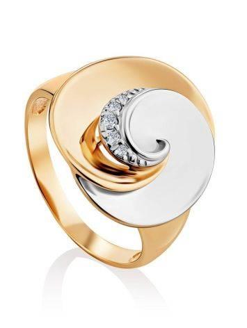 Необычное кольцо из белого и желтого золота с фианитами, Размер кольца: 19.5, фото