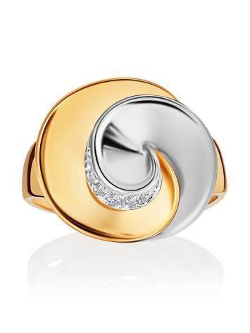 Необычное кольцо из белого и желтого золота с фианитами, Размер кольца: 19.5, фото , изображение 3