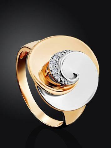 Необычное кольцо из белого и желтого золота с фианитами, Размер кольца: 19.5, фото , изображение 2