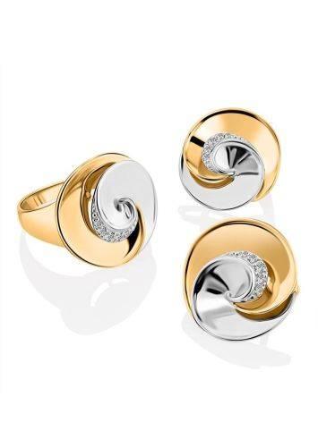 Необычное кольцо из белого и желтого золота с фианитами, Размер кольца: 19.5, фото , изображение 4