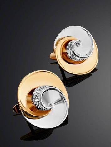 Серьги из белого и желтого золота с фианитами, фото , изображение 2