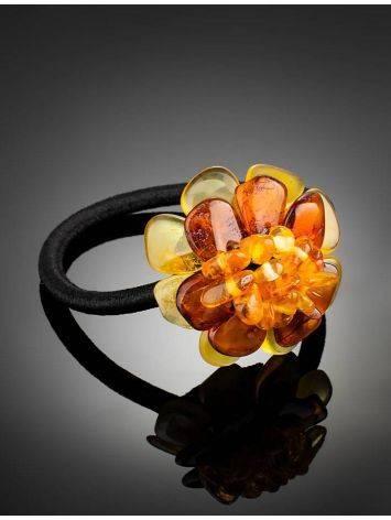 Резинка для волос, украшенная цветком из натурального балтийского янтаря, фото , изображение 2