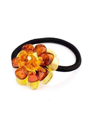 Резинка для волос, украшенная цветком из натурального балтийского янтаря, фото , изображение 3