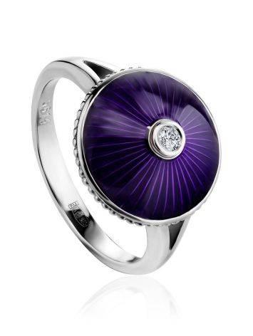Серебряное кольцо с фиолетовой эмалью гильош и бриллиантом «Наследие», Размер кольца: 18.5, фото