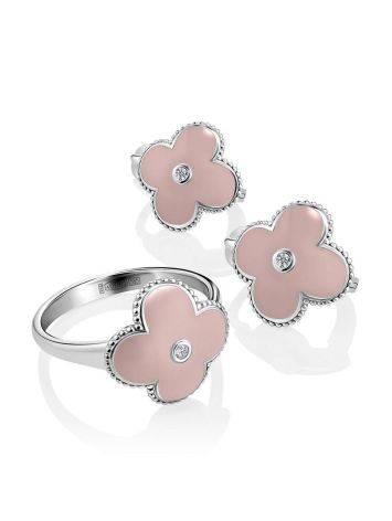Серебряные серьги-четырехлистники с эмалью и бриллиантами «Наследие», фото , изображение 3