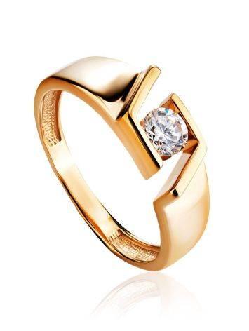 Эффектное золотое кольцо с фианитом, Размер кольца: 16.5, фото