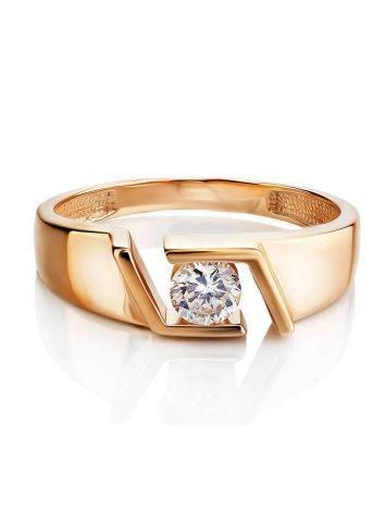 Эффектное золотое кольцо с фианитом, Размер кольца: 16.5, фото , изображение 3
