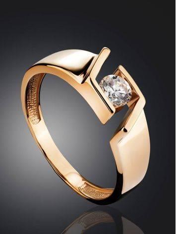 Эффектное золотое кольцо с фианитом, Размер кольца: 16.5, фото , изображение 2