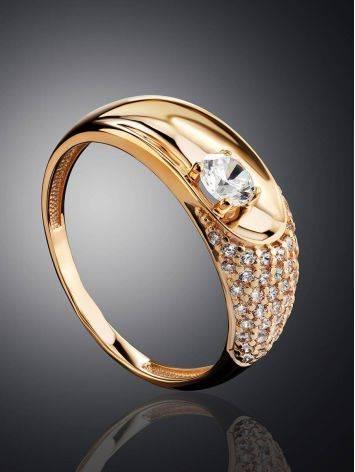 Шикарное золотое кольцо с фианитами, Размер кольца: 16.5, фото , изображение 2