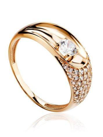 Шикарное золотое кольцо с фианитами, Размер кольца: 16.5, фото
