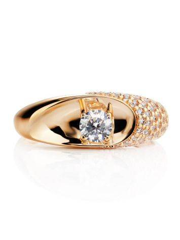 Шикарное золотое кольцо с фианитами, Размер кольца: 16.5, фото , изображение 3