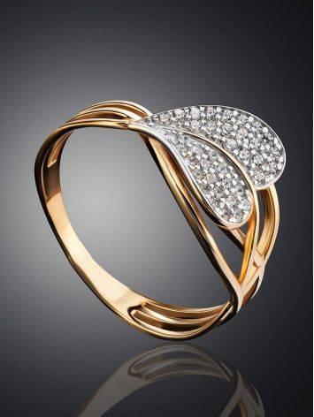 Утонченное золотое кольцо с фианитами, Размер кольца: 17.5, фото , изображение 2