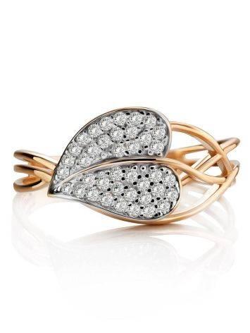 Утонченное золотое кольцо с фианитами, Размер кольца: 17.5, фото , изображение 3