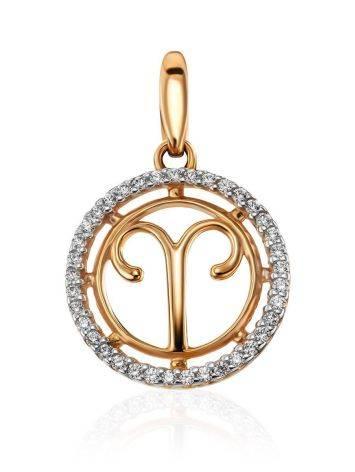 Кргулая подвеска из золота с цирконами «Овен», фото