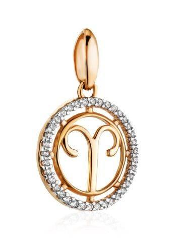 Кргулая подвеска из золота с цирконами «Овен», фото , изображение 3