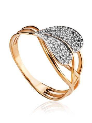 Утонченное золотое кольцо с фианитами, Размер кольца: 17.5, фото