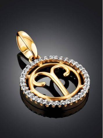 Кргулая подвеска из золота с цирконами «Овен», фото , изображение 2