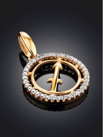 Яркий золотой кулон с цирконами «Стрелец», фото , изображение 2