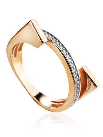 Трендовое золотое кольцо с фианитами, Размер кольца: 16.5, фото