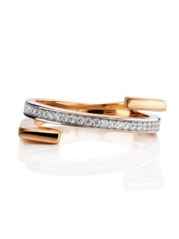 Трендовое золотое кольцо с фианитами, Размер кольца: 16.5, фото , изображение 3