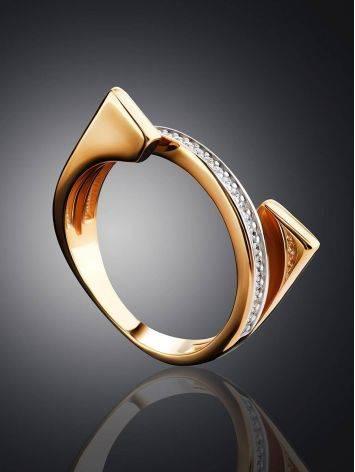 Трендовое золотое кольцо с фианитами, Размер кольца: 16.5, фото , изображение 2