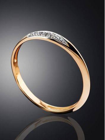 Тонкое золотое кольцо с фианитами, Размер кольца: 15.5, фото , изображение 2